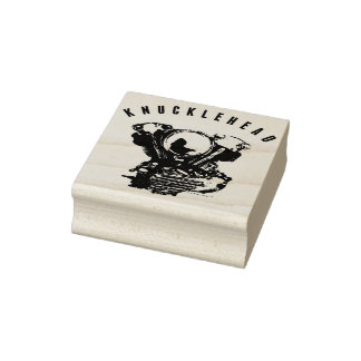 Vintage Harley Knucklehead Motorcycle Engine Rubber Stamp