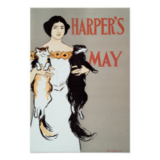 Vintage Harper's May Cats by Edward Penfield Poster