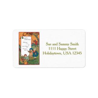 Vintage Harvest Children and Thanksgiving Verse Custom Address Label