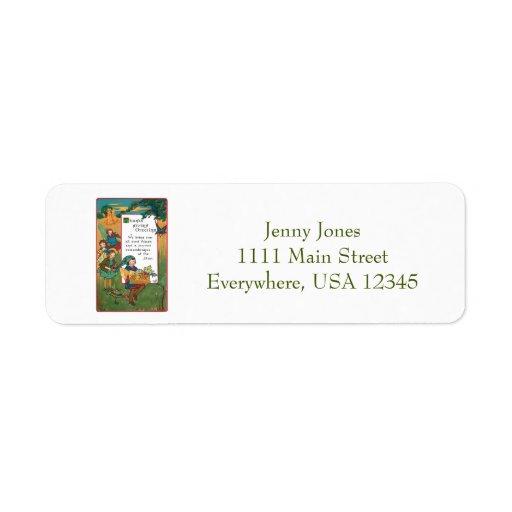 Vintage Harvest Children and Thanksgiving Verse Return Address Label