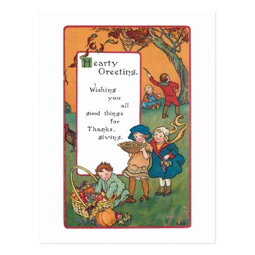 Vintage Harvest Children and Thanksgiving Verse Postcards