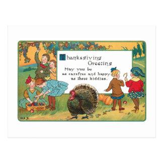Vintage Harvest Children and Thanksgiving Verse Postcard
