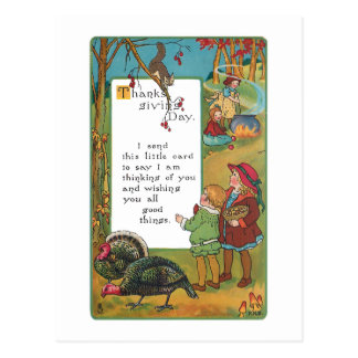 Vintage Harvest Children and Thanksgiving Verse Post Card
