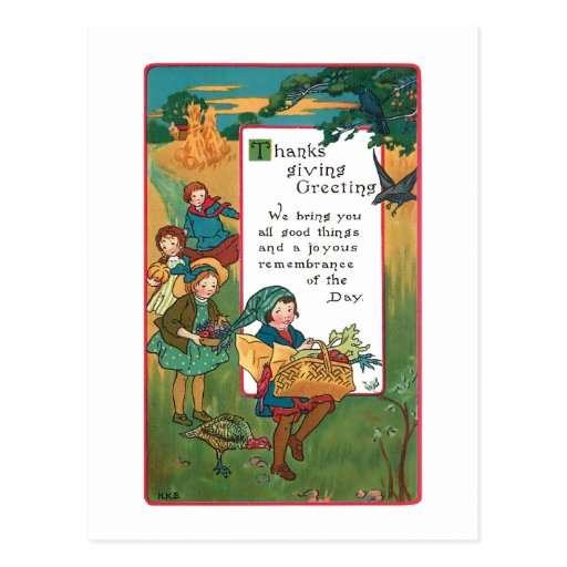 Vintage Harvest Children and Thanksgiving Verse Post Card