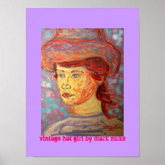 vintage hat girl poster