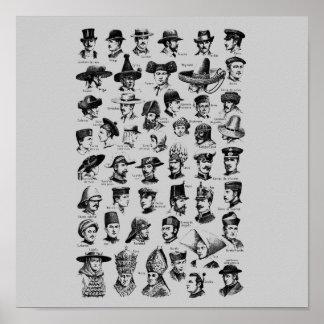 Vintage Hats Poster