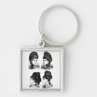 Vintage Hats Silver-Colored Square Keychain