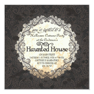 Vintage Haunted House Halloween Costume Party Card