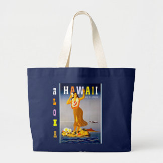 Vintage Hawaii Hula Large Tote Bag