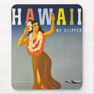 Vintage Hawaii Tourism Poster Scene Mouse Pad