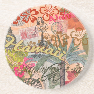 Vintage Hawaii Travel Colorful Hawaiian Tropical Coaster