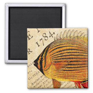 Vintage Hawaiian Butterfly Fish Customized Fishes Square Magnet