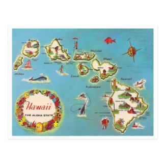 Vintage Hawaiian Map Postcard