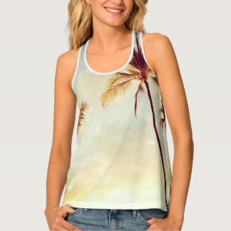 Vintage Hawaiian Palms Racerback Tank Top
