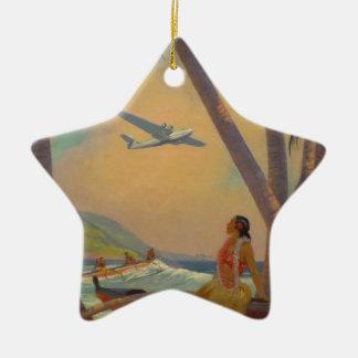 Vintage Hawaiian Travel - Hawaii Girl Dancer Ceramic Star Ornament