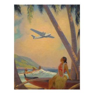 Vintage Hawaiian Travel - Hawaii Girl Dancer Custom Letterhead