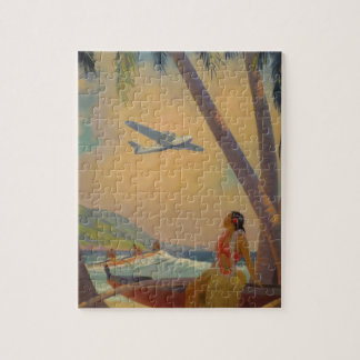 Vintage Hawaiian Travel - Hawaii Girl Dancer Jigsaw Puzzle