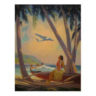 Vintage Hawaiian Travel - Hawaii Girl Dancer Postcard