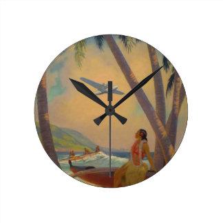 Vintage Hawaiian Travel - Hawaii Girl Dancer Round Clock