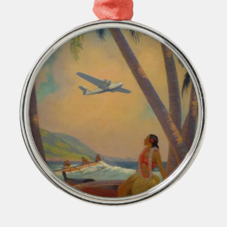Vintage Hawaiian Travel - Hawaii Girl Dancer Silver-Colored Round Ornament
