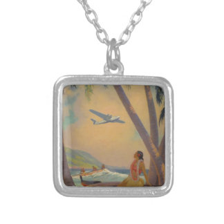 Vintage Hawaiian Travel - Hawaii Girl Dancer Silver Plated Necklace