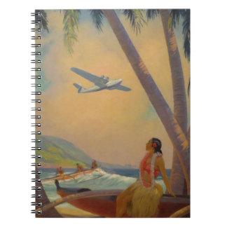 Vintage Hawaiian Travel - Hawaii Girl Dancer Spiral Notebook