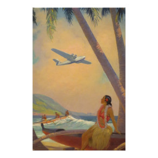 Vintage Hawaiian Travel - Hawaii Girl Dancer Stationery