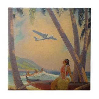 Vintage Hawaiian Travel - Hawaii Girl Dancer Tiles