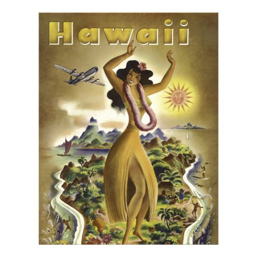 Vintage Hawaiian Travel Poster Personalized Letterhead