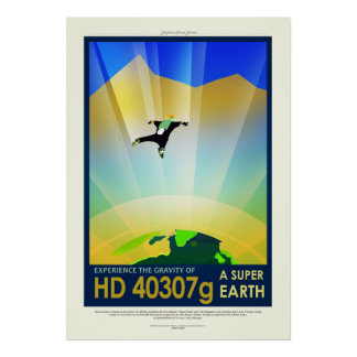 Vintage HD 40307g Super Earth Space Travel Poster