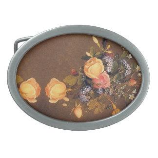 Vintage Heade Roses Flowers Floral Belt Buckle