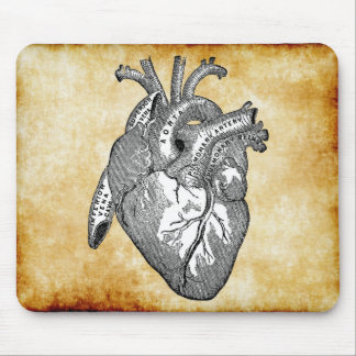vintage heart anatomy mouse pad
