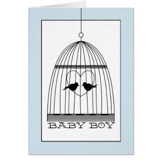 Vintage Heart Birdcage Baby Boy Announcement
