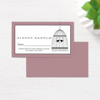 Vintage Heart Birdcage Baby Diaper Raffle Ticket