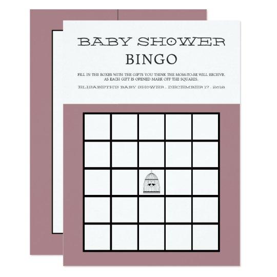 Vintage Heart Birdcage Baby Shower Bingo Card