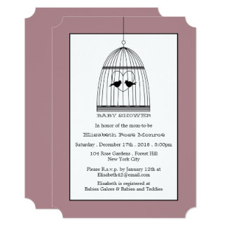 Vintage Heart Birdcage Baby Shower Card