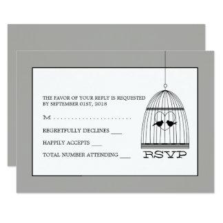 Vintage Heart Birdcage Wedding RSVP Card