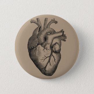 Vintage Heart Illustration 2 Inch Round Button