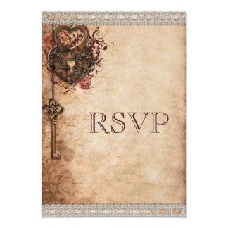 "Vintage Heart Lock & Key Wedding RSVP 3.5"" X 5"" Invitation Card"