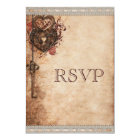 Vintage Heart Lock & Key Wedding RSVP Card