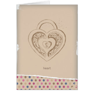 Vintage Heart lock with polka dots Card