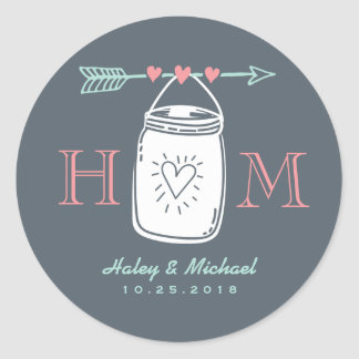 Vintage Heart Mason Jar Monogram Wedding Sticker