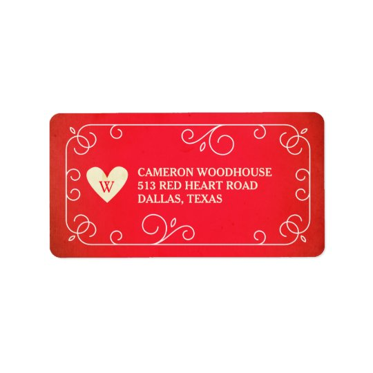Vintage Heart Monogram Label