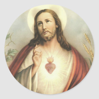 Vintage Heart of Jesus Thorns Blessing Flames Round Sticker