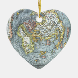 Vintage Heart Shaped Antique World Map Peter Apian Ceramic Ornament