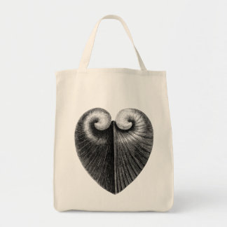 Vintage heart shell pencil illustration tote bag