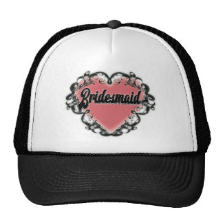 Vintage heart tattoo bridesmaid trucker hat