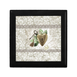 Vintage Heart with Key Accented with Leaves, Tulle Gift Box