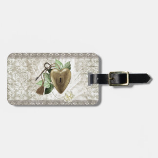 Vintage Heart with Key Accented with Leaves, Tulle Luggage Tag