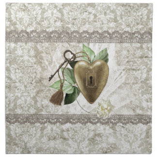 Vintage Heart with Key Accented with Leaves, Tulle Napkin